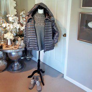 Calvin Klein silver down hooded puffer coat 1X